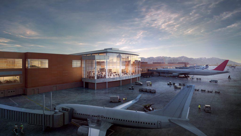 Het buitenaanzicht van het vliegveld
